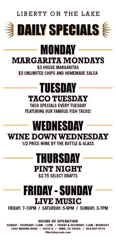 Liberty on the Lake Weekly Specials