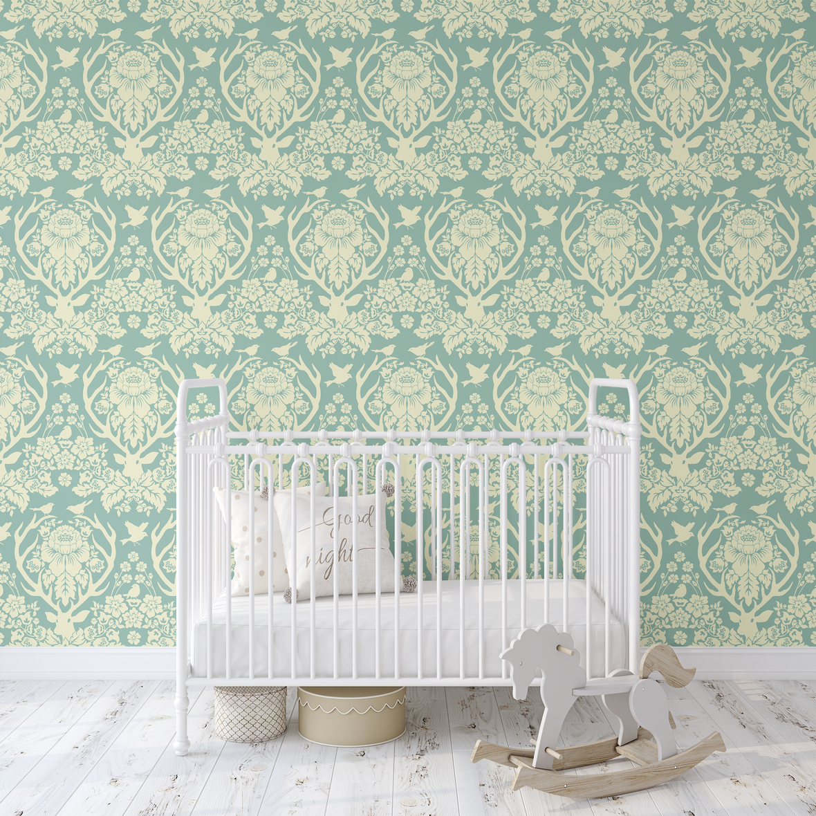 Antler Damask in Sky Blue