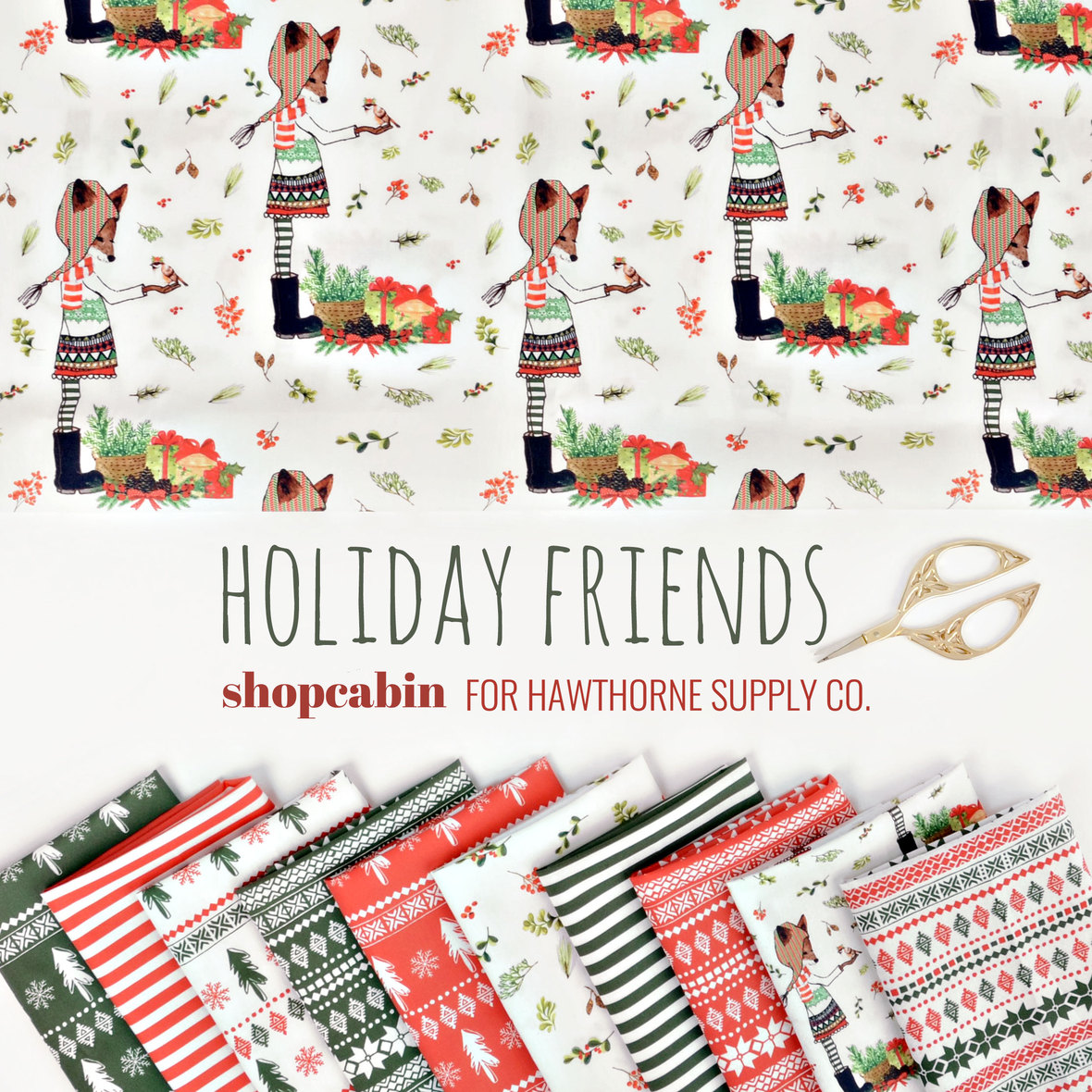 Shopcabin Holiday Friends Fabric at Hawthorne Supply Co