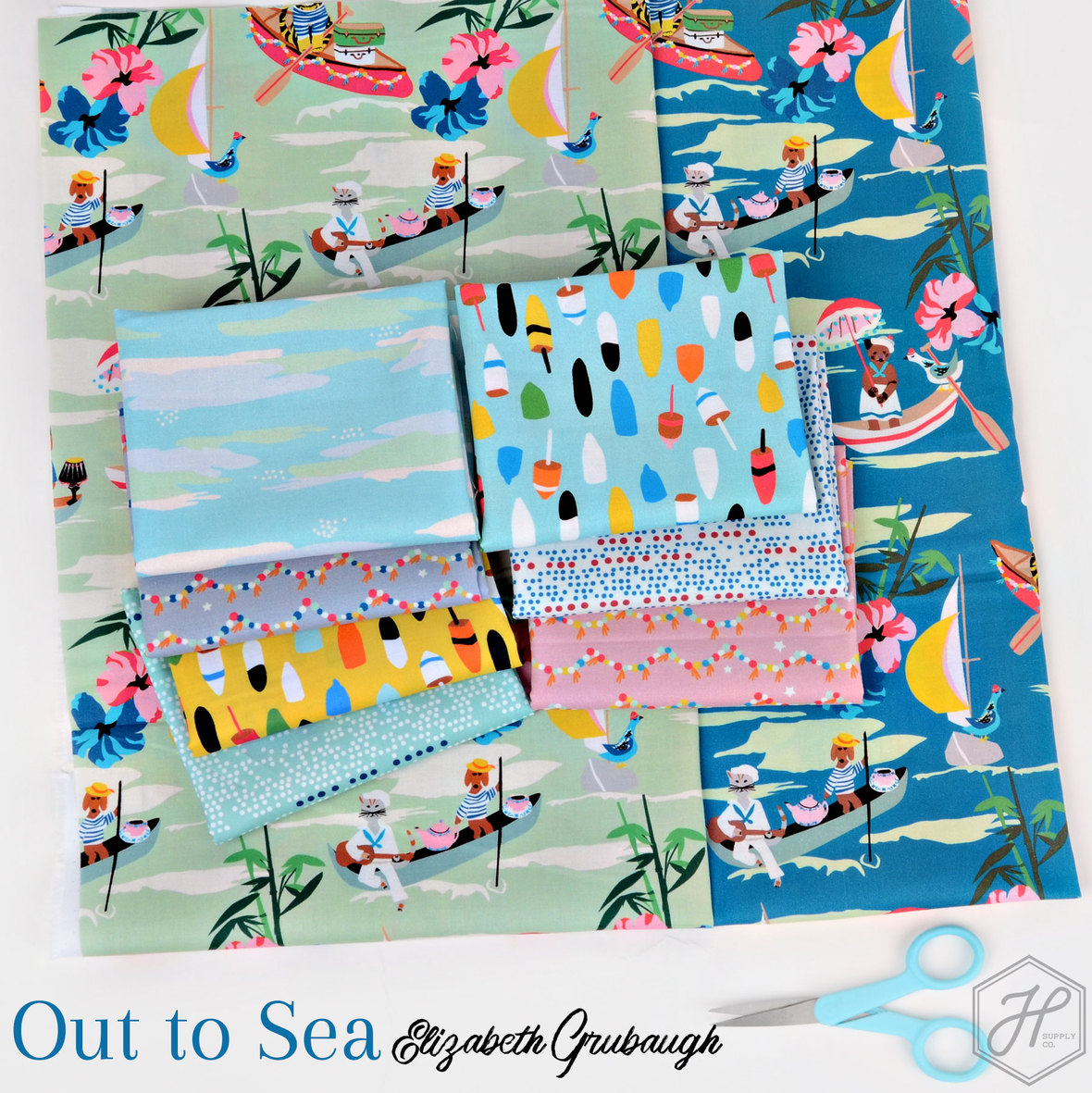 Out to Sea Fabric collection Elizabeth Grugaugh for Blend at Hawthorne Supply Co