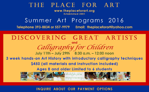 THE PLACE FOR ART Summer Art Programs 2016.DISCOVERING GREAT ARTISTS poster