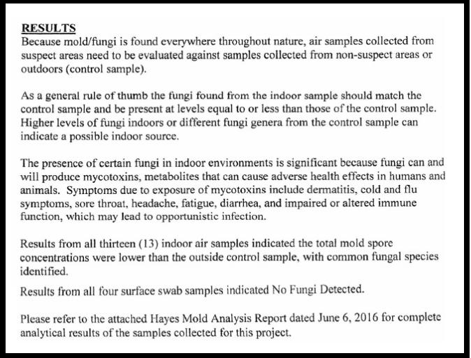2016 Mold Report Screen Shot