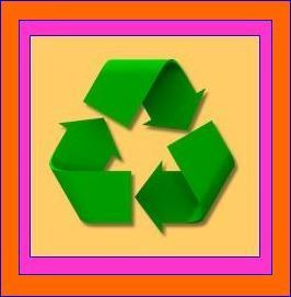 Recyc Symbol - muted gold.hot pink.orange