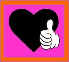 TY - Thumbs up on heart on hot pink orange