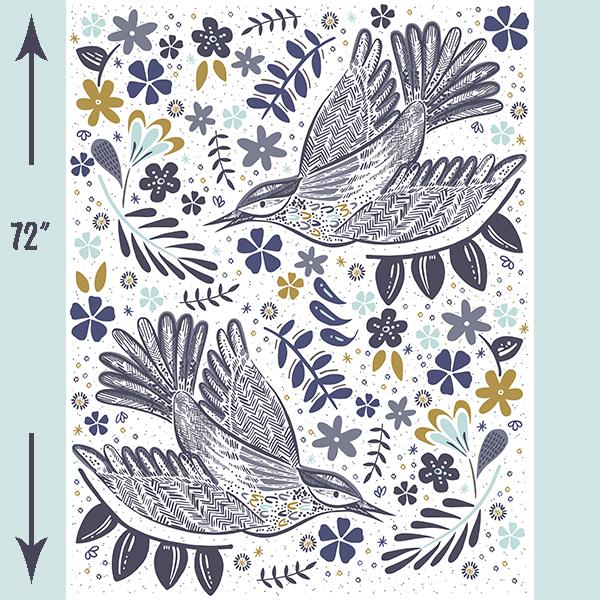 Quilt Panel Dove with Measurements