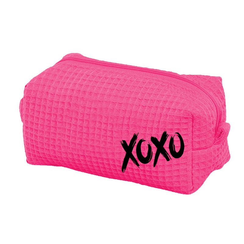 Small-Hot-Pink-Waffle-Cosmetic-Bag-with-Black-XOXO 56010.1579962047