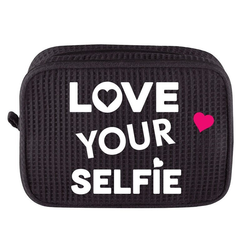 Large-Black-Waffle-Cosmetic-Bag-with-Love-Your-Selfie 67325.1580050123