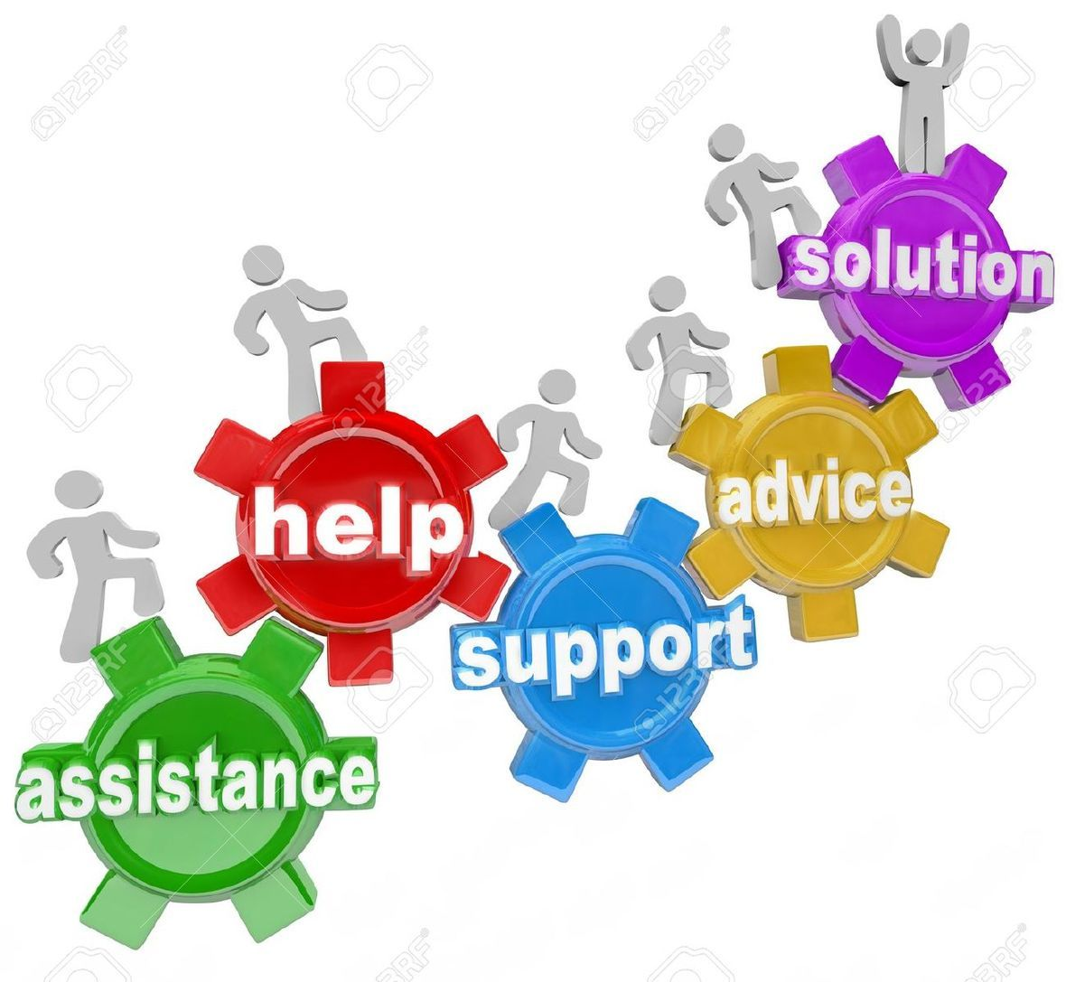 13406053-Several-people-rising-on-gears-helping-each-other-to-achieve-success-and-reach-a-solution-through-as-Stock-Photo