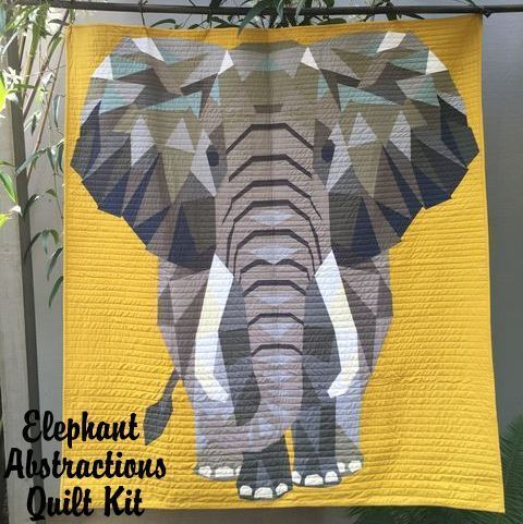 violet craft elephant abstractions quilt kit sewing pattern