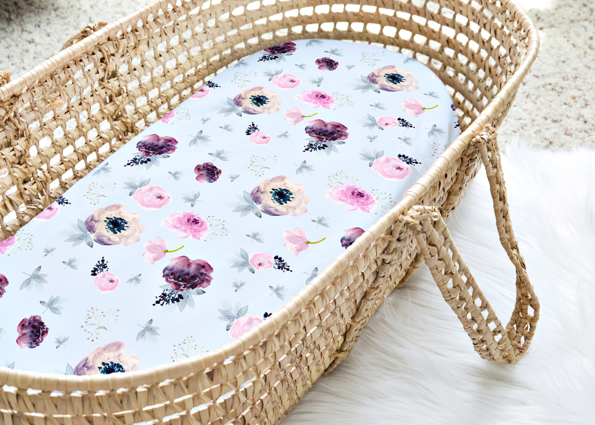 Moses Basket Big Painted Wildflowers Soft Blue