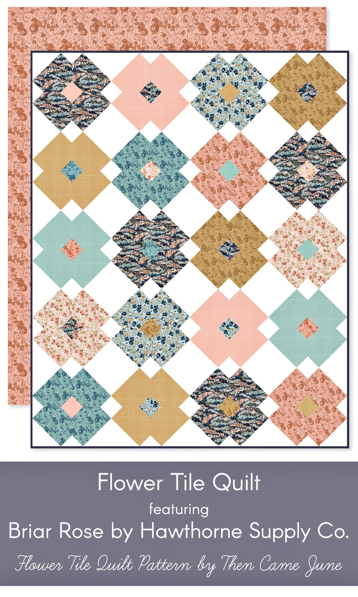Then-Came-June-Flower-Tile-Quilt-in-Hawthorne-Supply-Co-Briar-Rose-Bunny-fabric