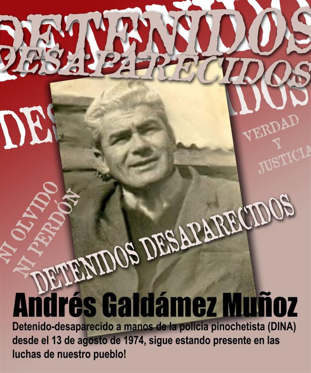 ANDRES GALDAMEZ DETENIDO DESAPRECIDO 1974 CHILE