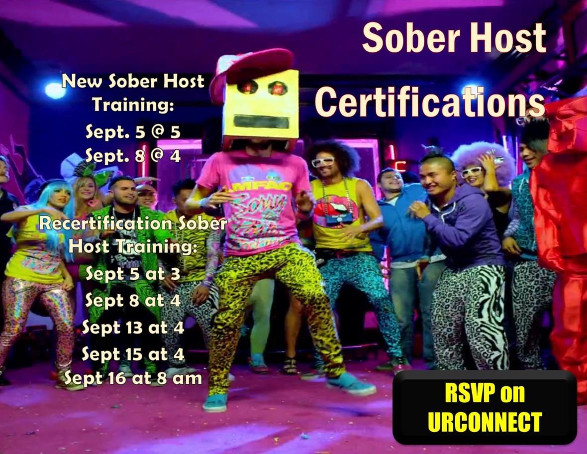 Sober Host trainings fall 2016