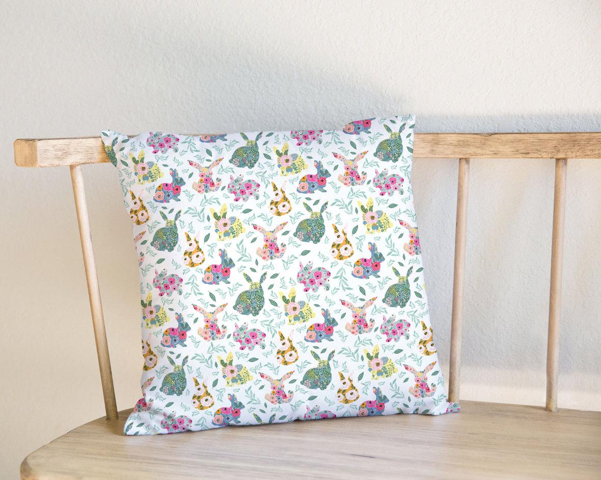 Pillow-on-Bench-Big-Floral-Bunnies-b