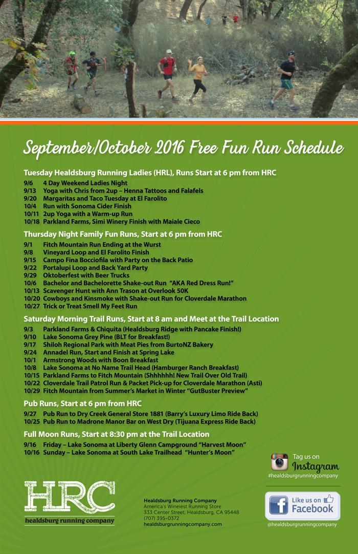 sept oct run schedule 2016