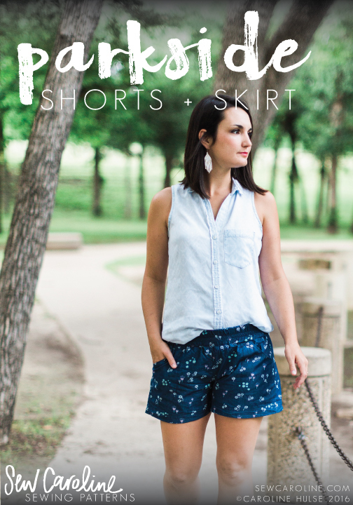 sew caroline parkside shorts and skirt sewing pattern