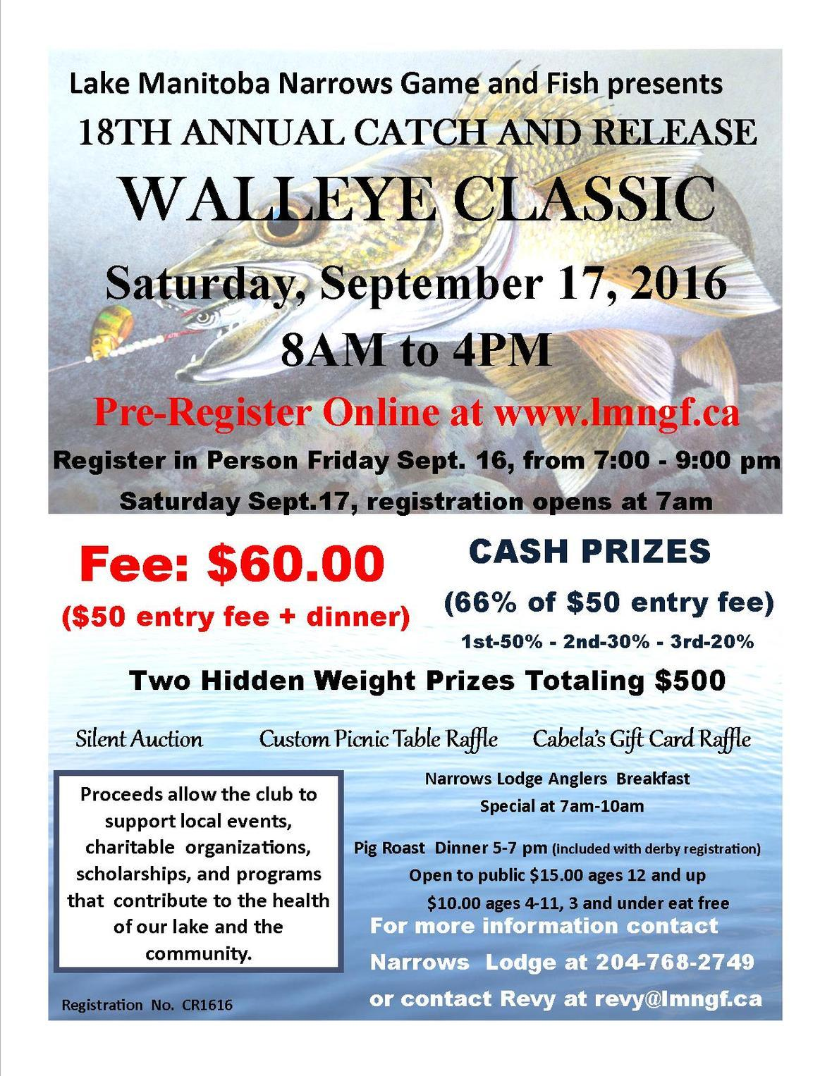 18th Annual Walleye Classic 2016 poster