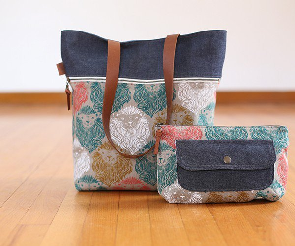 noodlehead caravan tote and pouch sewing pattern