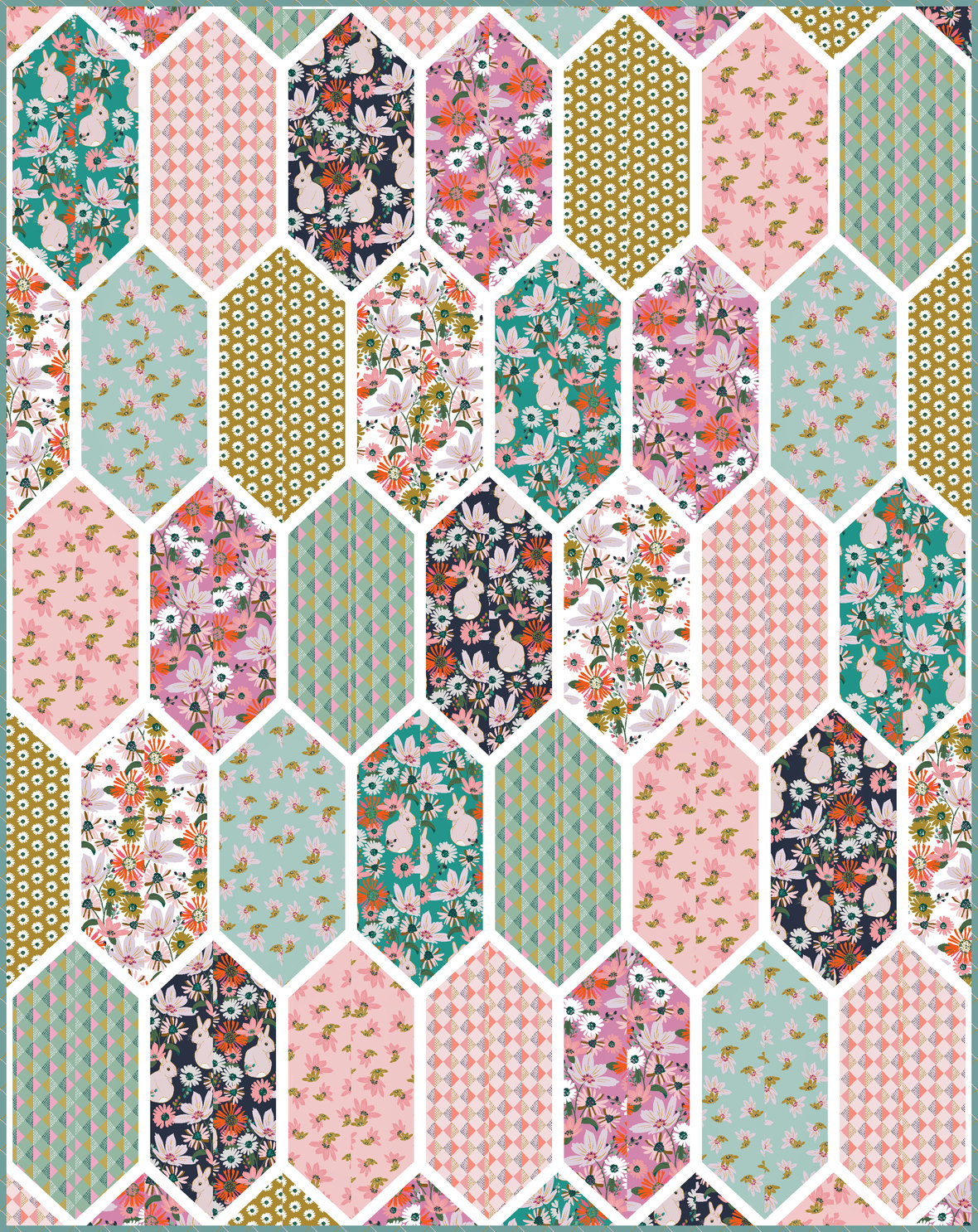 Church-Window-9-half-yards-Bunny-Garden-Fabric-by-Teresa-Chan-for-Hawthorne-Supply-Co