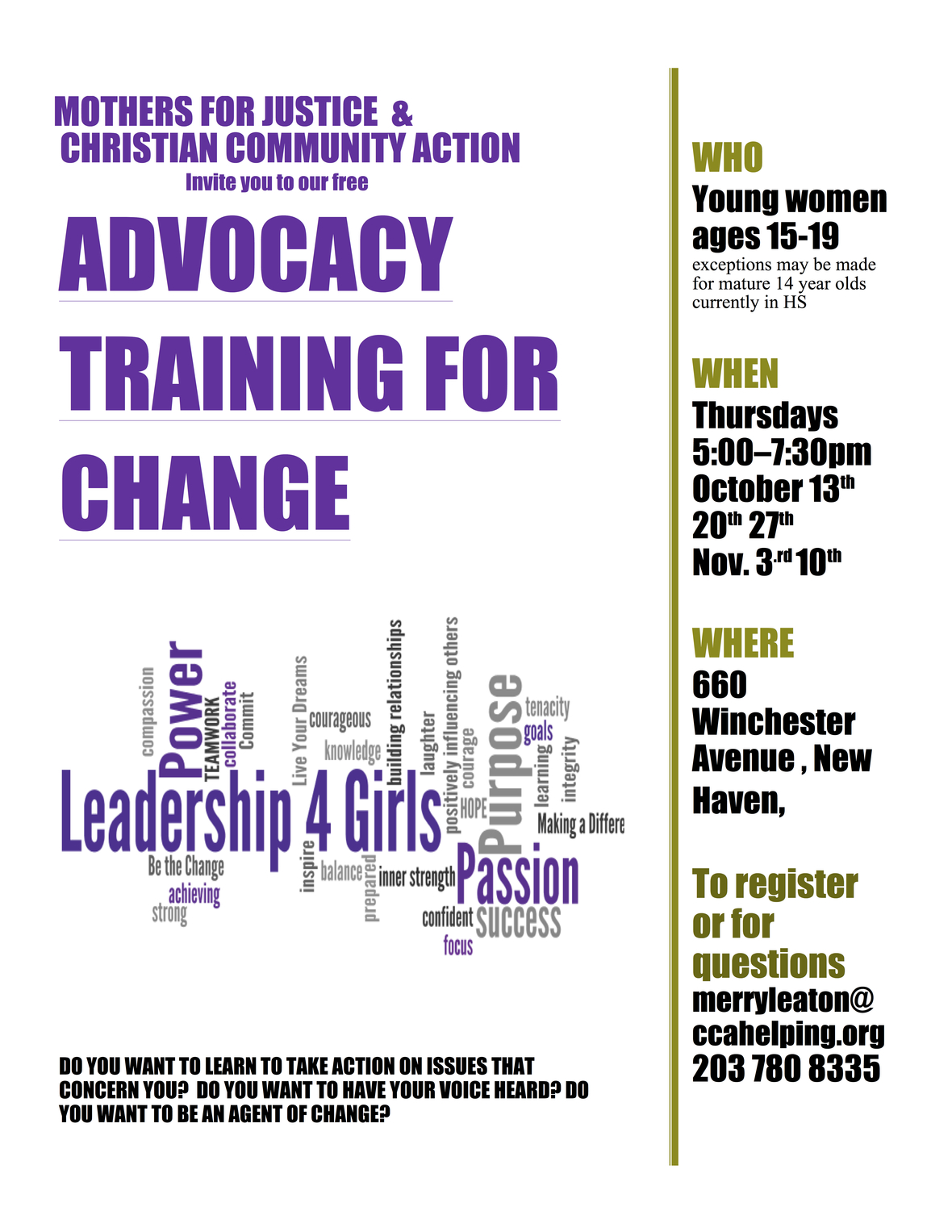 flyer for Advocacy training for change