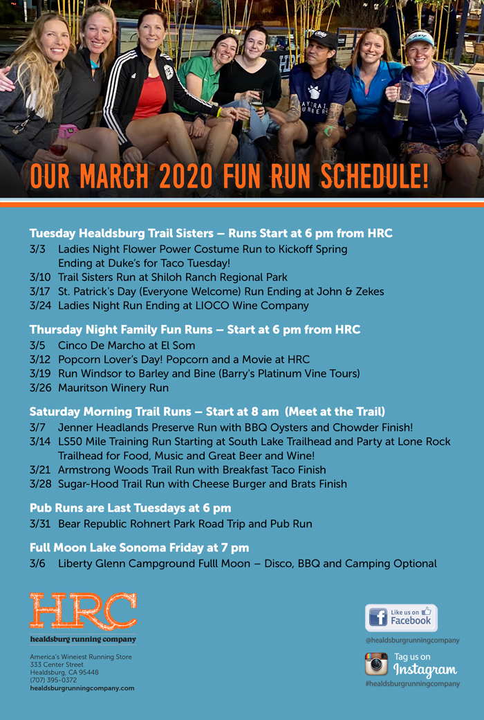 March 2020 run schedule