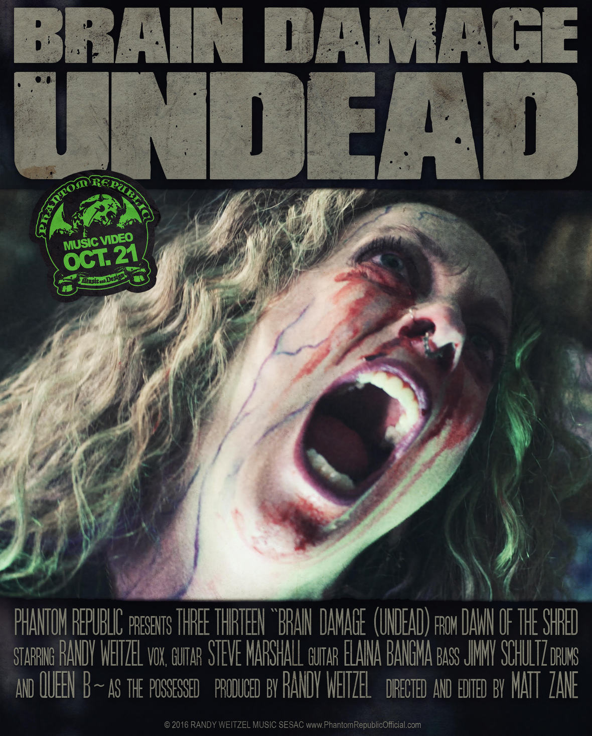 THREE THIRTEEN - BRAIN DAMAGE  UNDEAD  POSTER