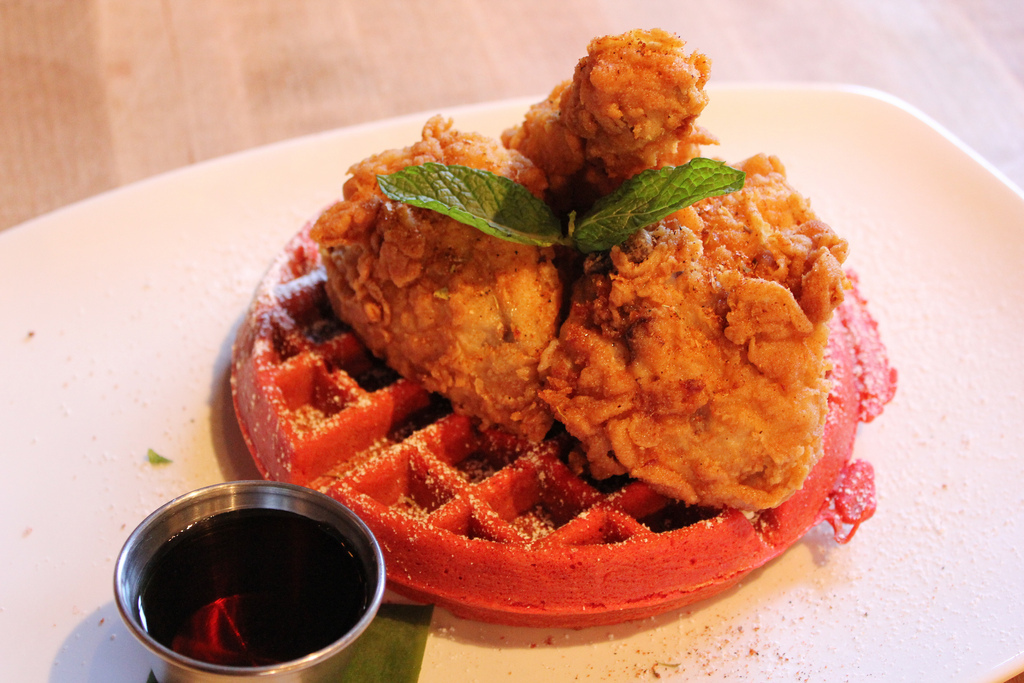 red velvet waffles and fried chicken