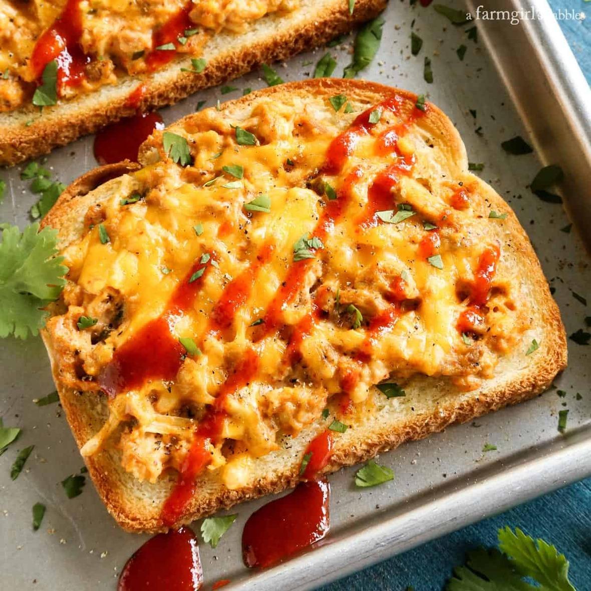 Cheesy-Sriracha-Tuna-Toasts AFarmgirlsDabbles AFD-2 sq