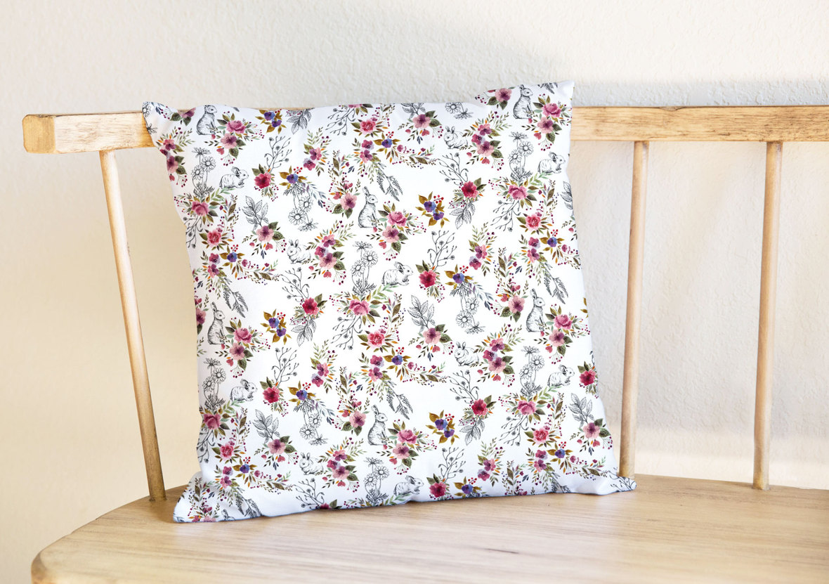 Pillow-on-Bench-Enchanted-Garden-Wildflowers