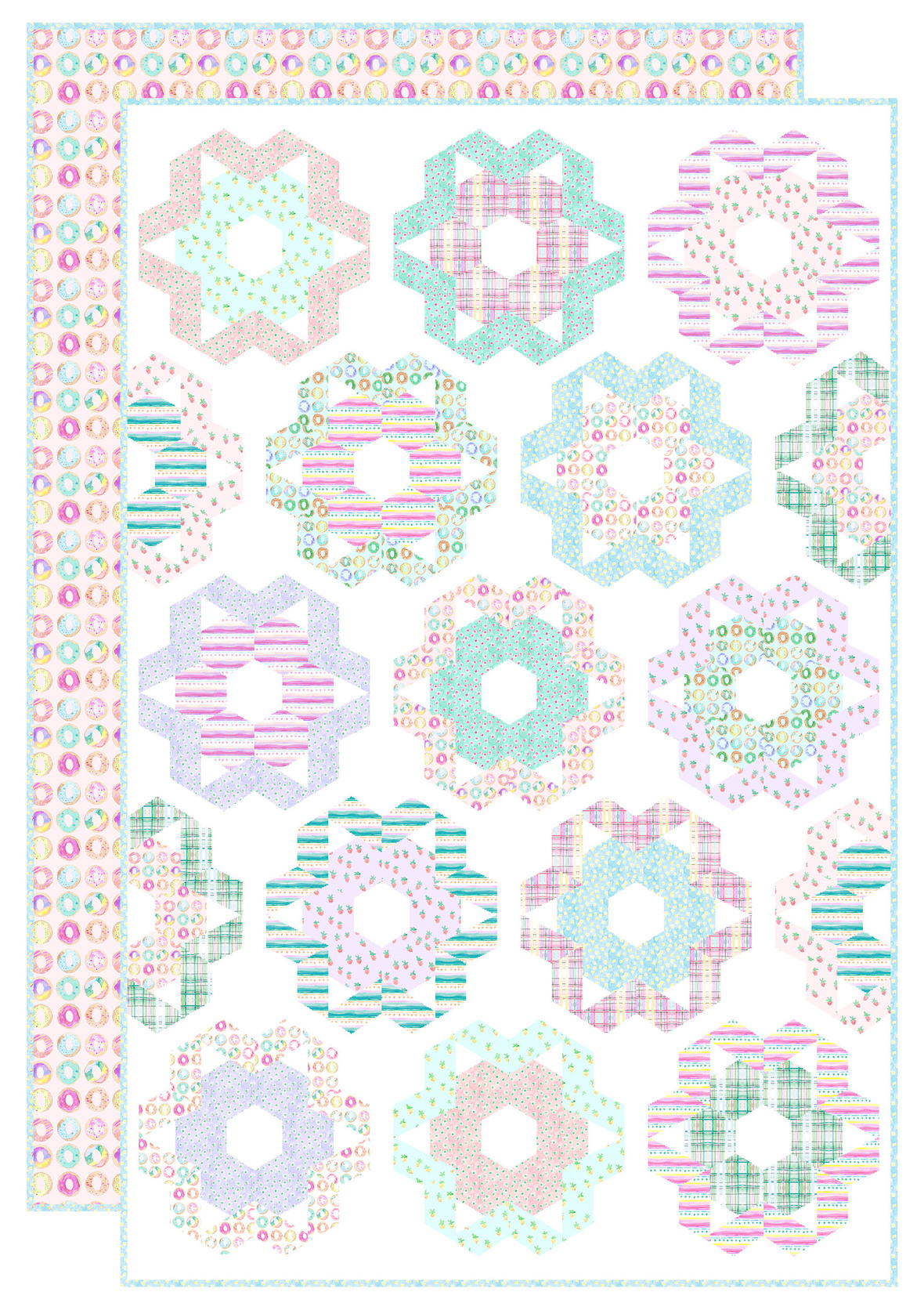 Glazed Donuts Quilt uses 1 FQ bundle plus binding and backing