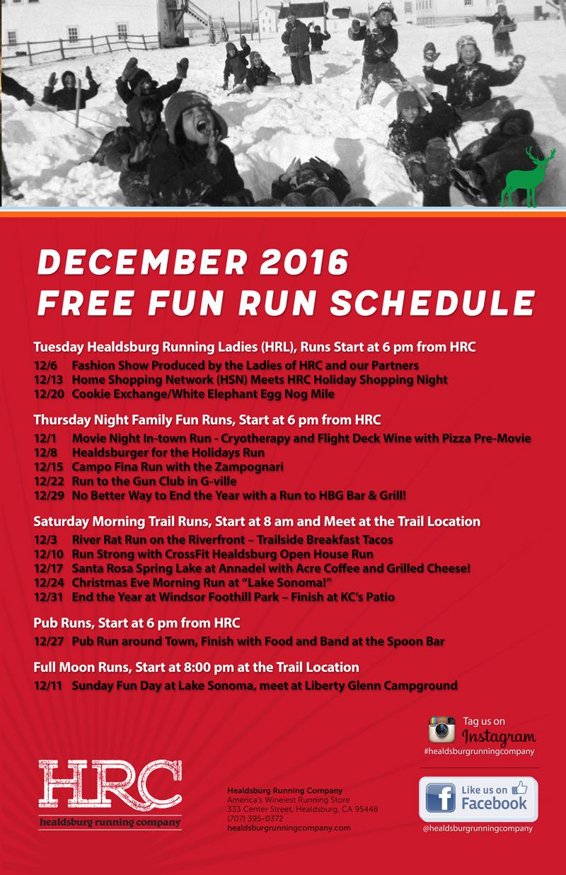 dec run schedule 2016 snow day