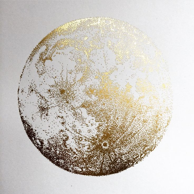 full moon gold foil art