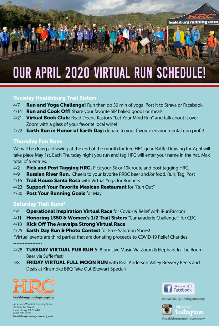 April 2020 virtual run schedule