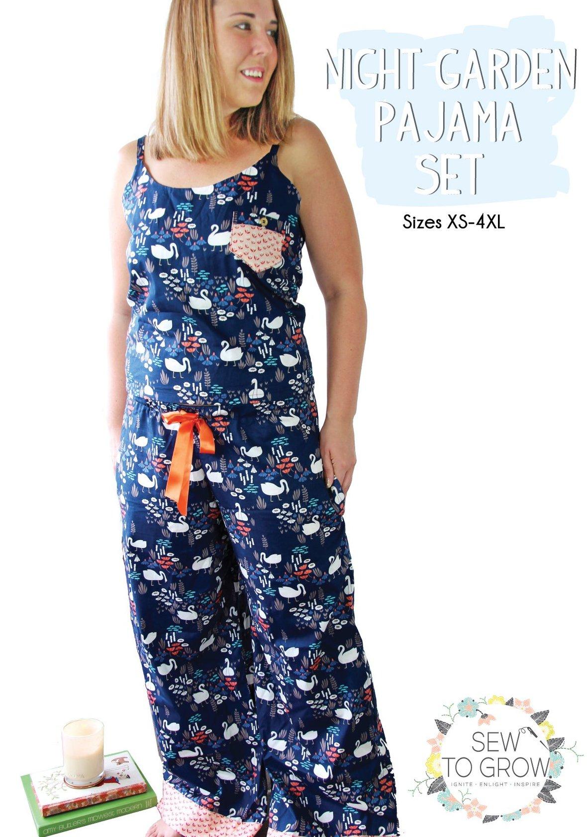 sew to grow  night garden pajama set sewing pattern