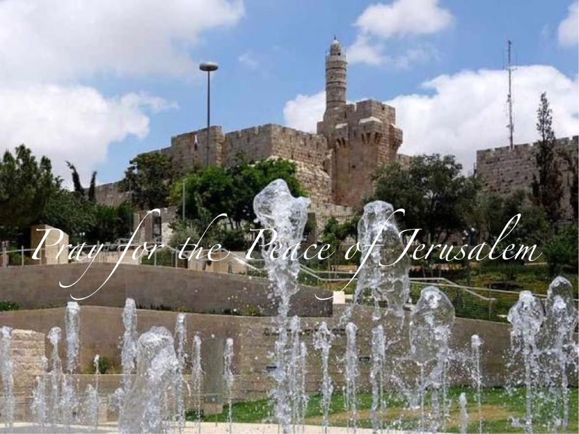 Pray for peace Jslm Jaffa Gate Fountain