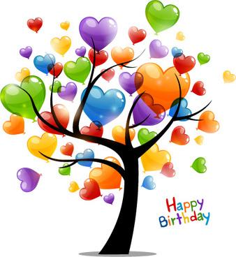 colored heart tree happy birthday card vector 544109