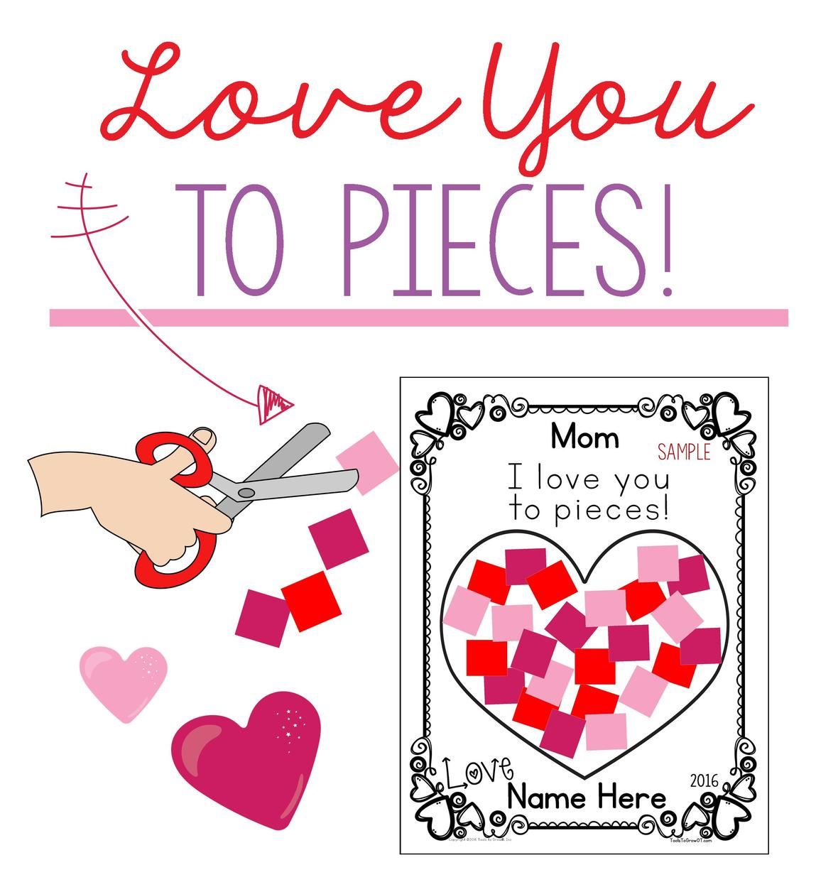 photo regarding I Love You to Pieces Printable referred to as Valentines Working day Entertaining!!