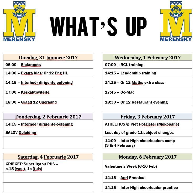 Whats Up - 31 Jan - 6 Feb 2017