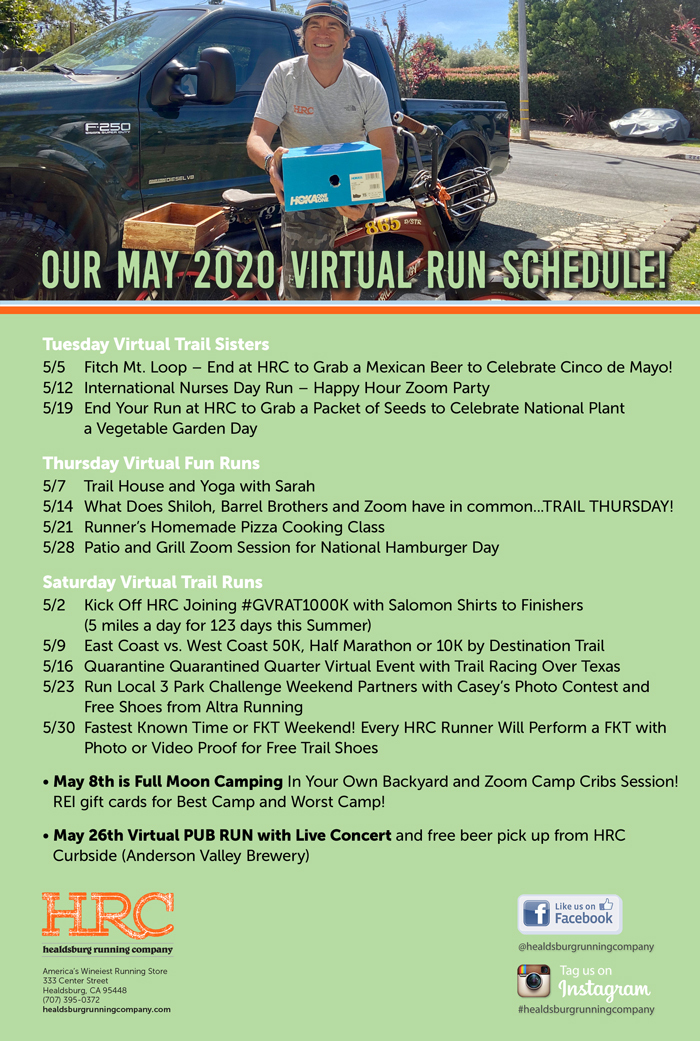 May 2020 virtual run schedule
