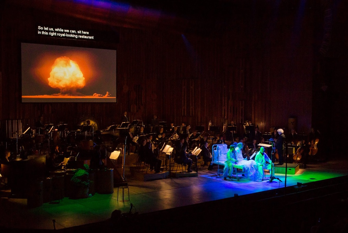 Ligeti's Le grand Macabre with Simon Rattle, London Symphony Orchestra and ensemble at the Barbican Hall, photo John Phillips/Getty Images