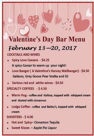 Valentines Week Bar Menu