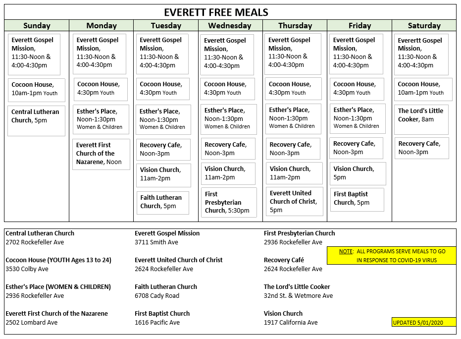 free meals Everett