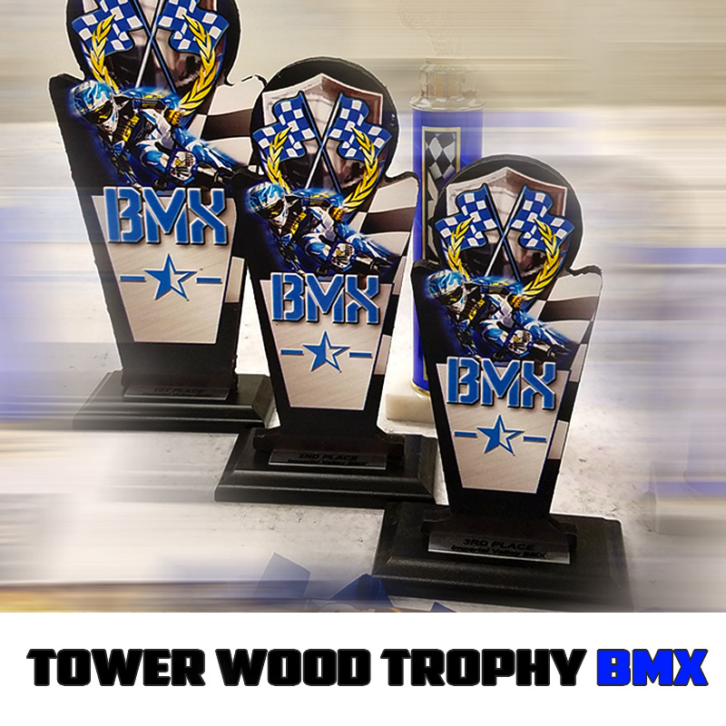 tower wood trophy blue