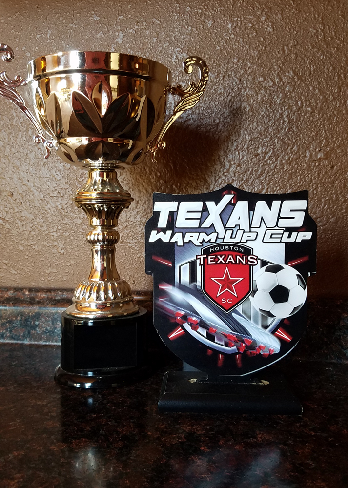 Texans soccer Wood Trophy and cup