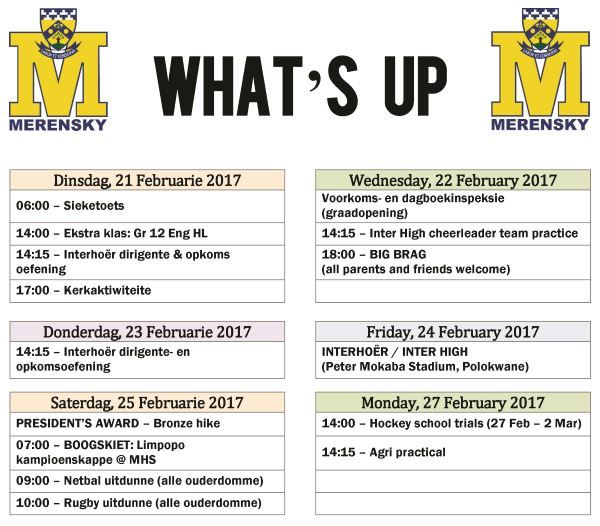 Whats up - 21-27 Feb 2017