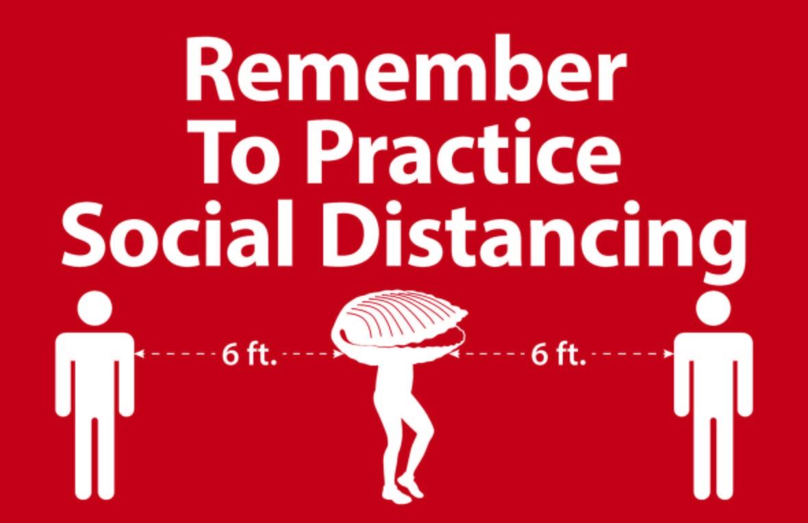 Social Distancing Sign w Ivar s Clam