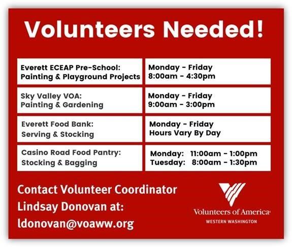 VOAA volunteer needs