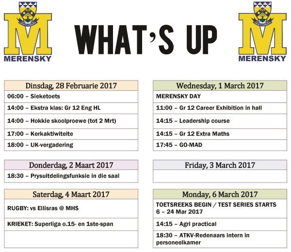 Whats up - 28 Feb -6 Mar 2017
