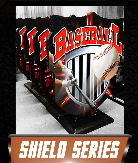 shield series wood trophy baseball