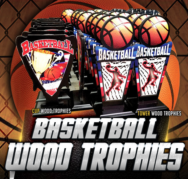 Basketball Wood Trophy Poster